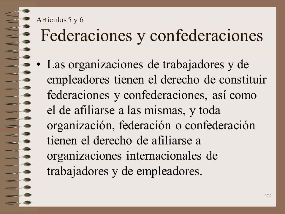 Artículos 5 y 6 Federaciones y confederaciones