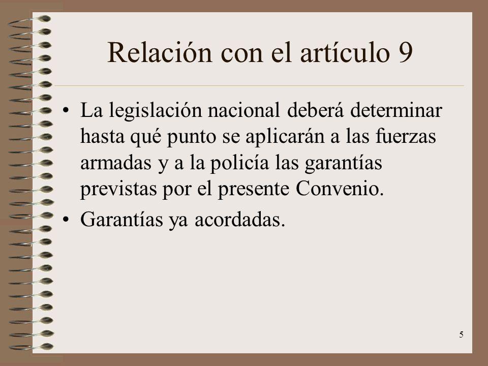 Relación con el artículo 9