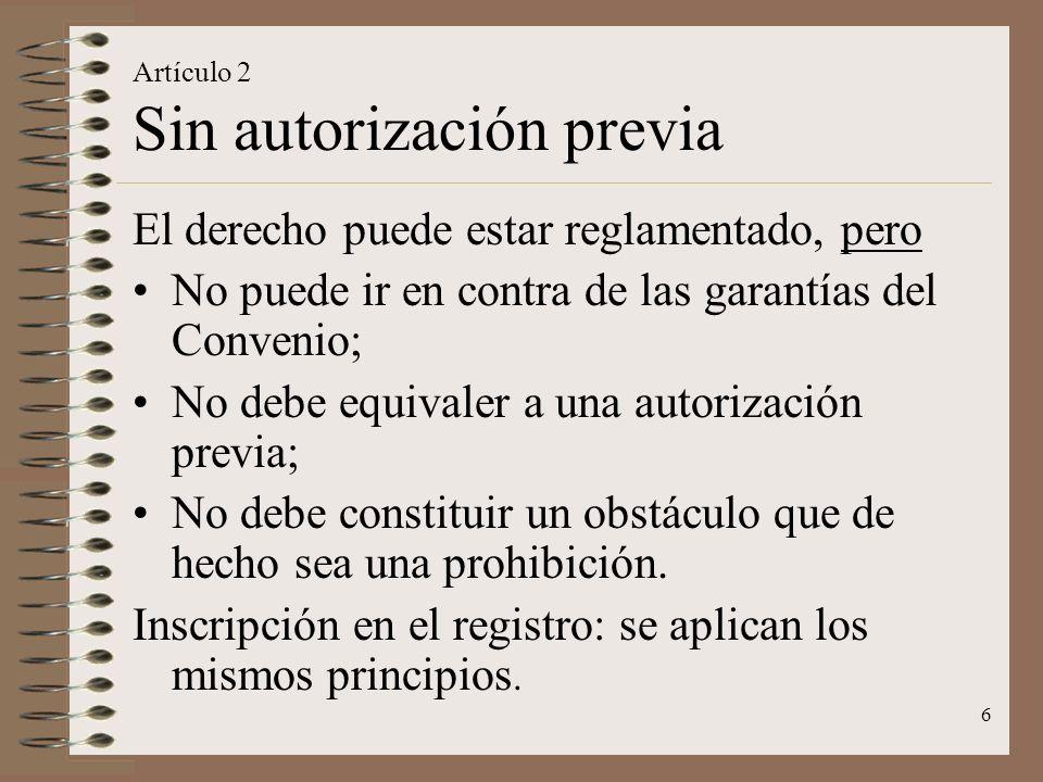 Artículo 2 Sin autorización previa