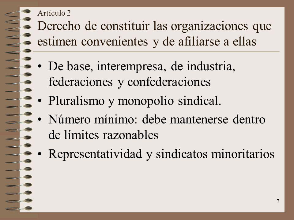 De base, interempresa, de industria, federaciones y confederaciones
