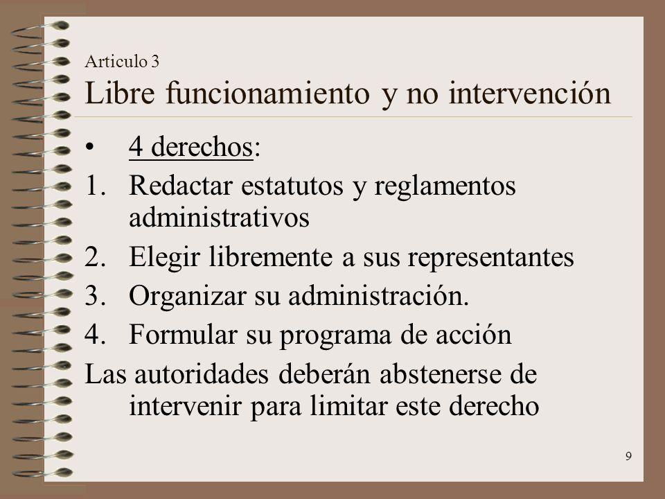 Articulo 3 Libre funcionamiento y no intervención
