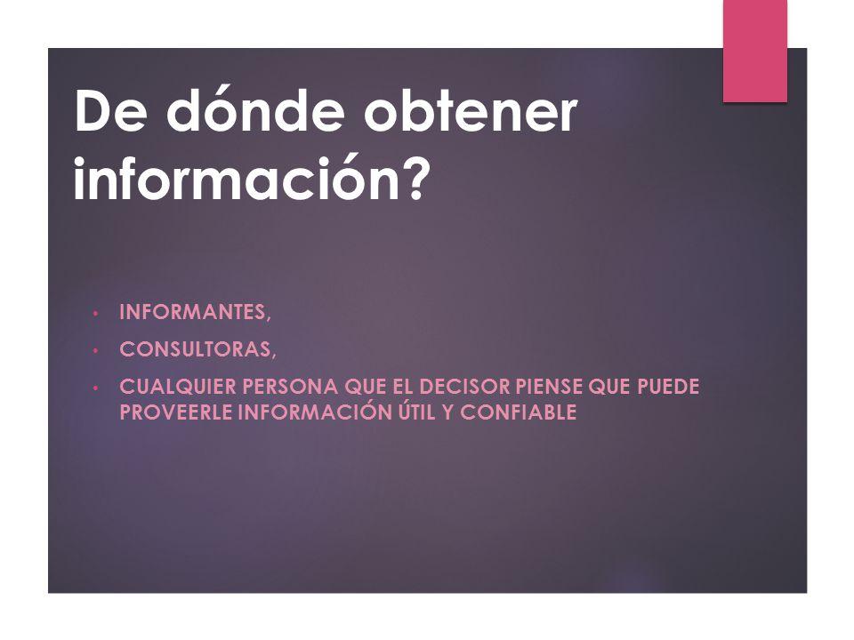 De dónde obtener información
