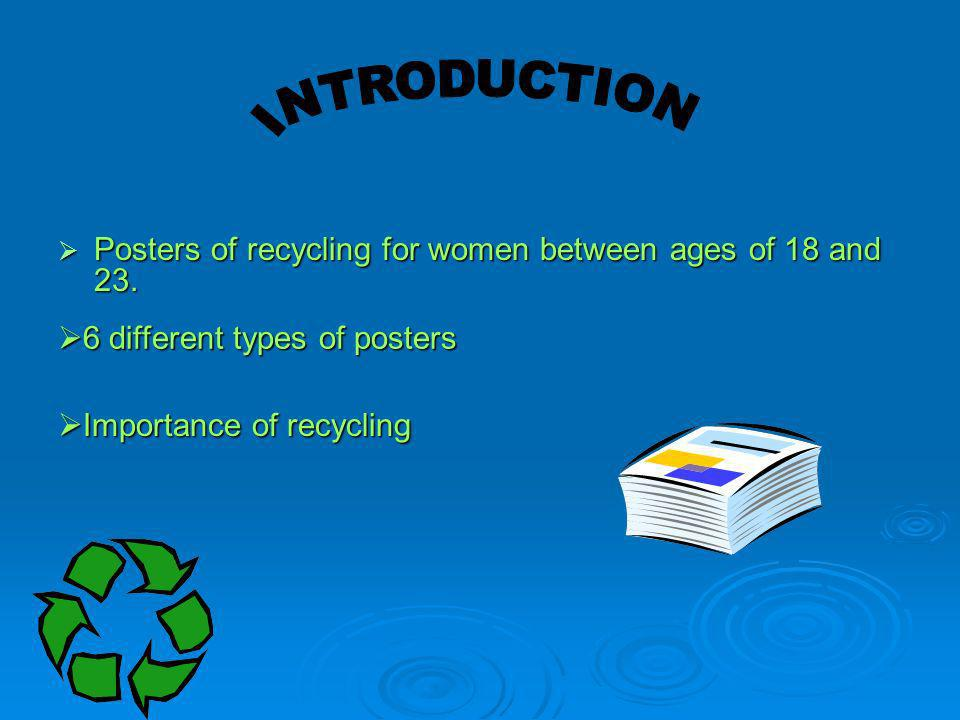 INTRODUCTION Posters of recycling for women between ages of 18 and 23.