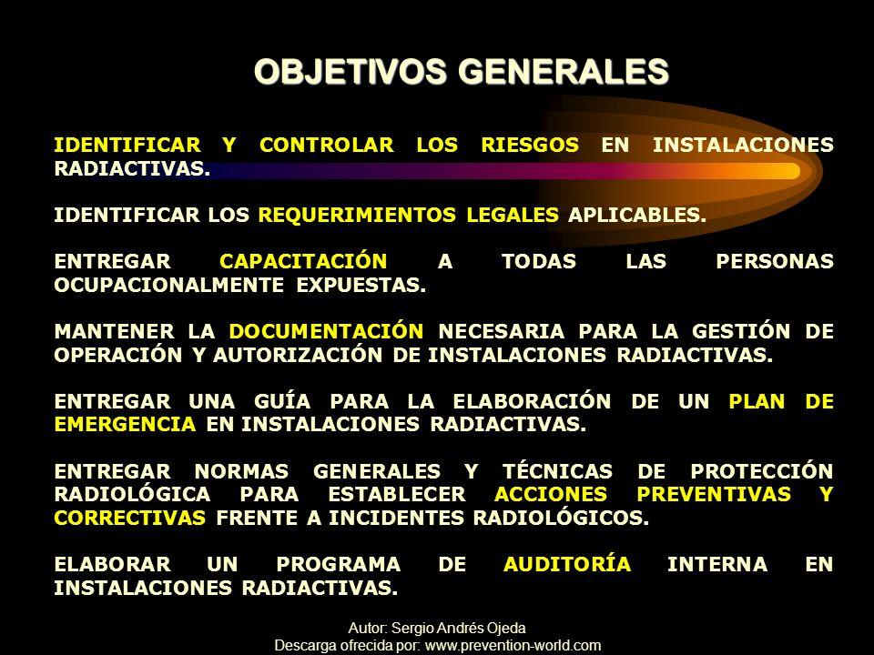 OBJETIVOS GENERALES IDENTIFICAR Y CONTROLAR LOS RIESGOS EN INSTALACIONES RADIACTIVAS. IDENTIFICAR LOS REQUERIMIENTOS LEGALES APLICABLES.