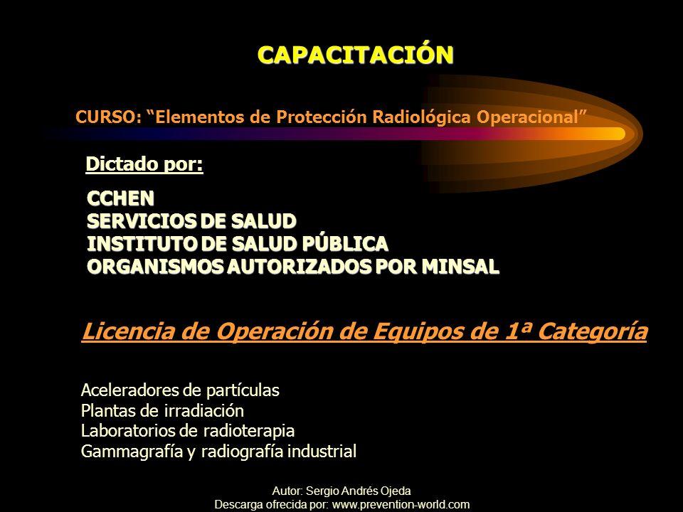Licencia de Operación de Equipos de 1ª Categoría