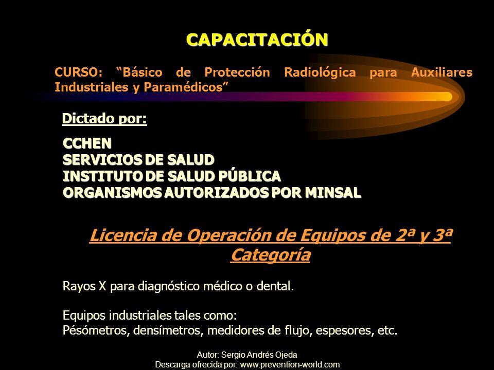 Licencia de Operación de Equipos de 2ª y 3ª Categoría