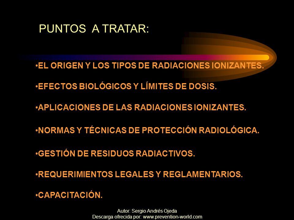 PUNTOS A TRATAR: EL ORIGEN Y LOS TIPOS DE RADIACIONES IONIZANTES.