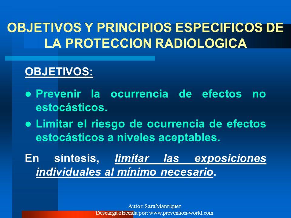 OBJETIVOS Y PRINCIPIOS ESPECIFICOS DE LA PROTECCION RADIOLOGICA
