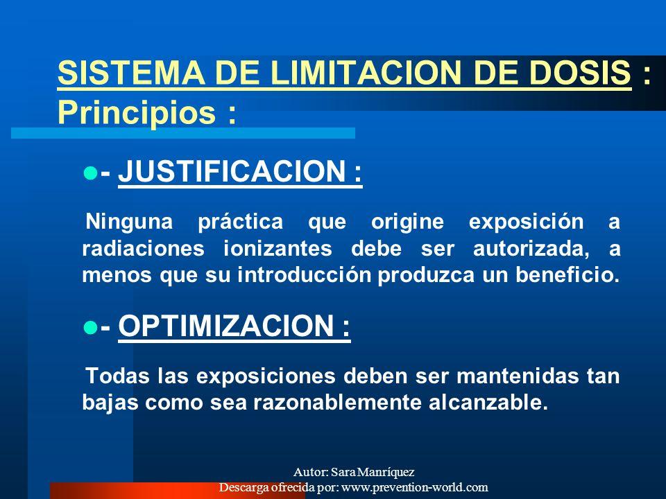 SISTEMA DE LIMITACION DE DOSIS : Principios :