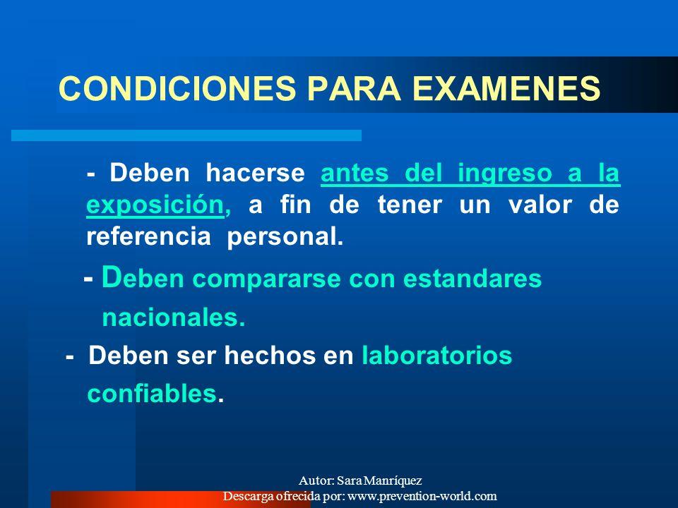 CONDICIONES PARA EXAMENES