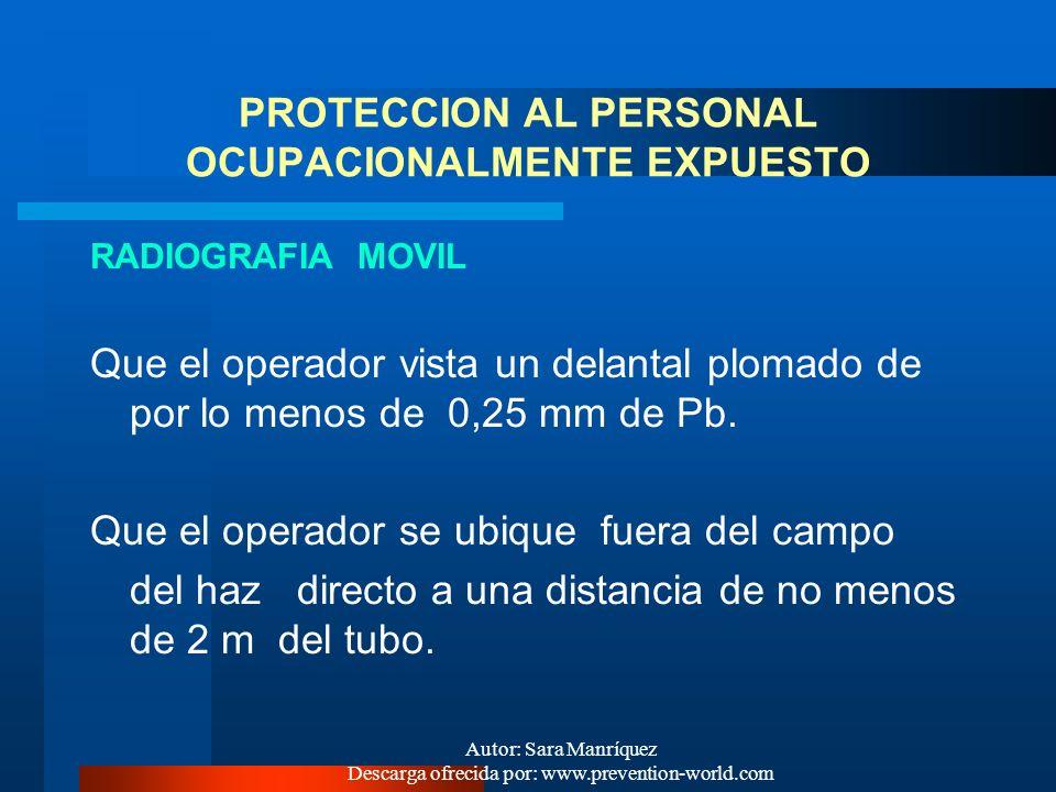 PROTECCION AL PERSONAL OCUPACIONALMENTE EXPUESTO