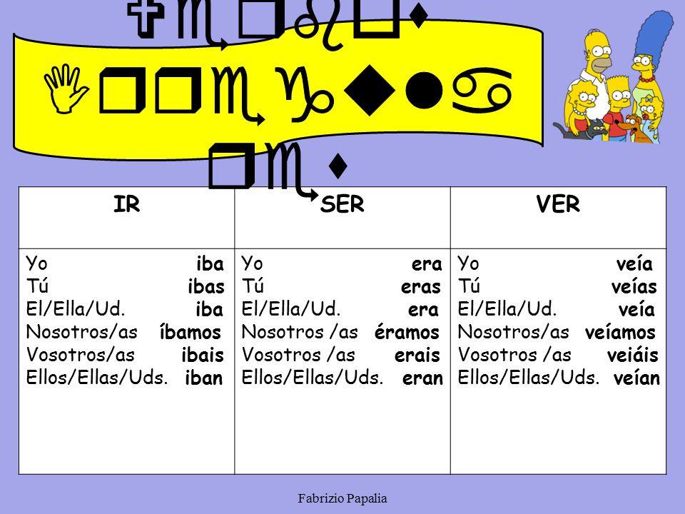 Verbos Irregulares IR SER VER Yo iba Tú ibas El/Ella/Ud. iba