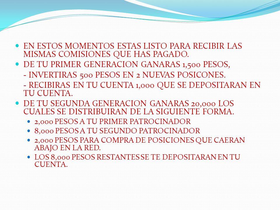 DE TU PRIMER GENERACION GANARAS 1,500 PESOS,