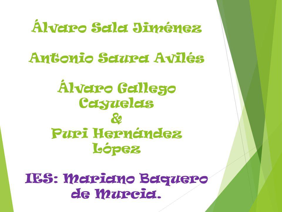 Álvaro Sala Jiménez Antonio Saura Avilés Álvaro Gallego Cayuelas & Puri Hernández López IES: Mariano Baquero de Murcia.