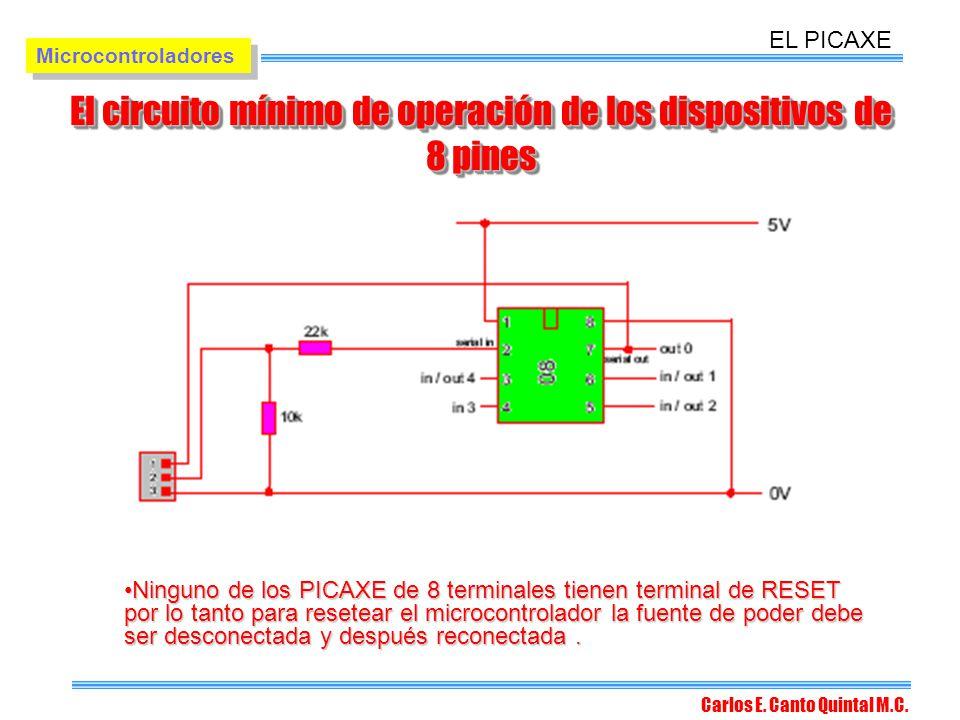El circuito mínimo de operación de los dispositivos de 8 pines