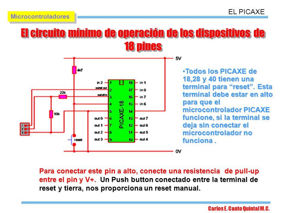 El circuito mínimo de operación de los dispositivos de 18 pines