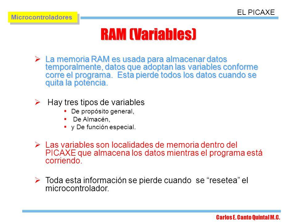 EL PICAXE Microcontroladores. RAM (Variables)