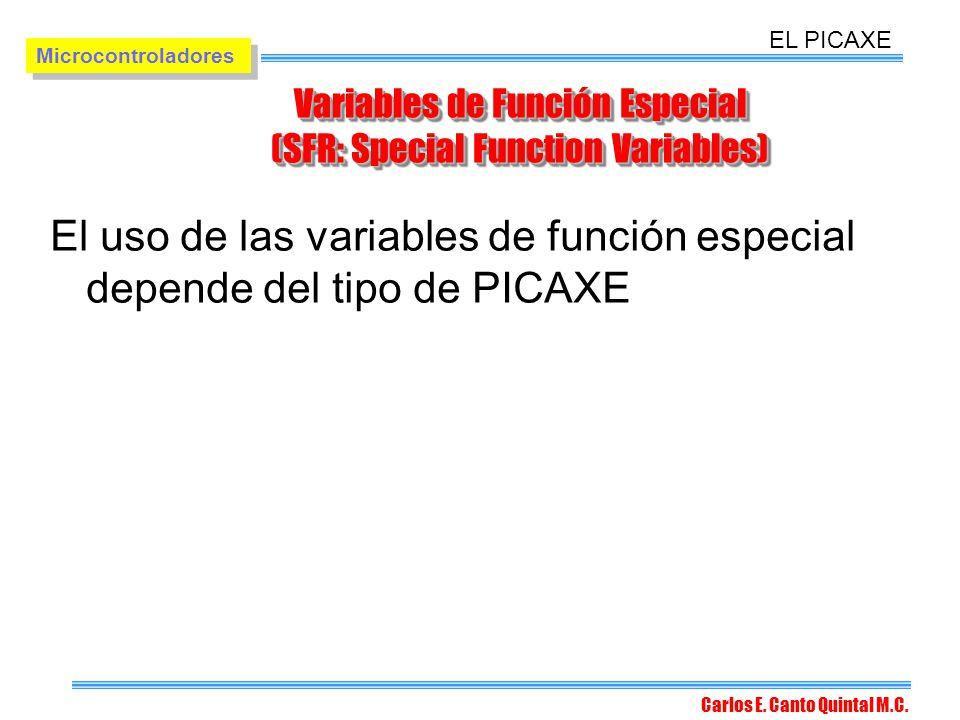 Variables de Función Especial (SFR: Special Function Variables)