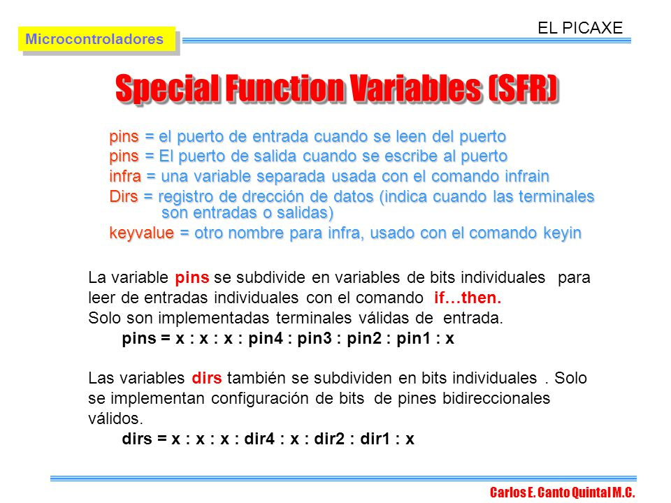 Special Function Variables (SFR)