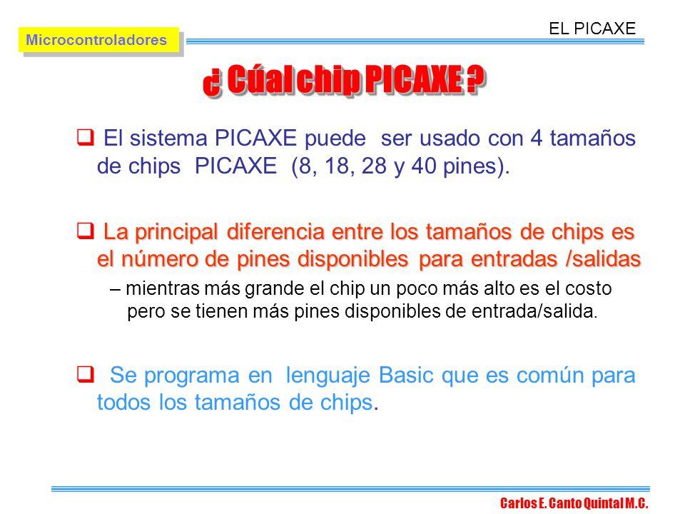 EL PICAXE Microcontroladores. ¿ Cúal chip PICAXE El sistema PICAXE puede ser usado con 4 tamaños de chips PICAXE (8, 18, 28 y 40 pines).