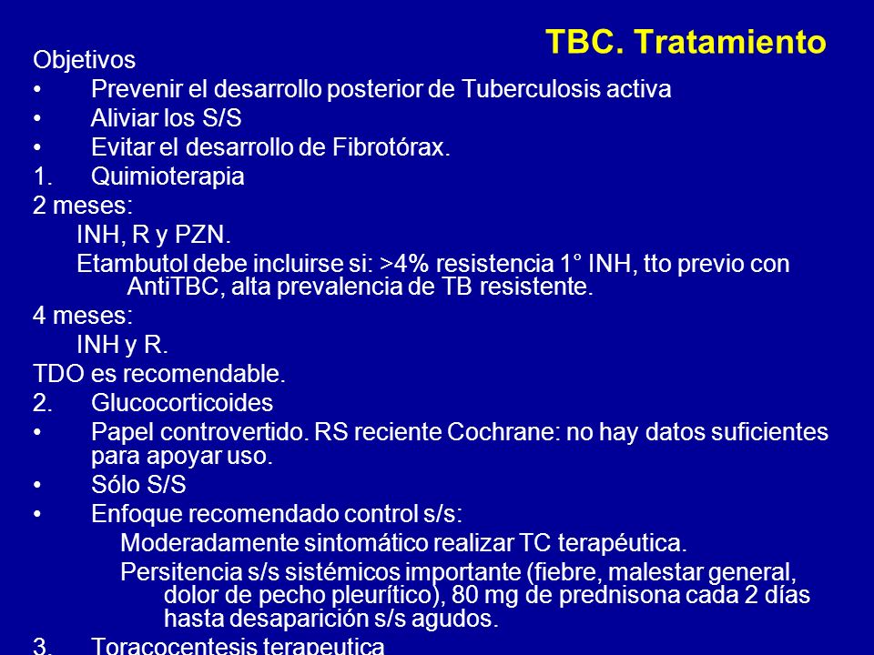 TBC. Tratamiento Objetivos