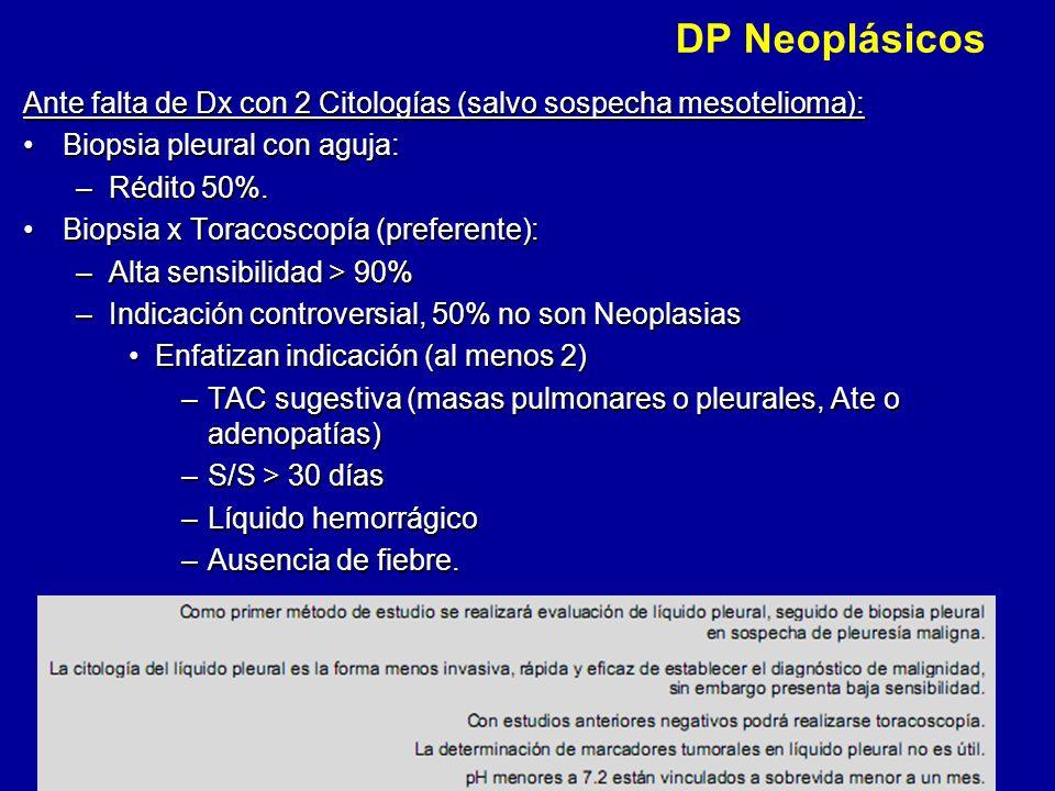 DP Neoplásicos Ante falta de Dx con 2 Citologías (salvo sospecha mesotelioma): Biopsia pleural con aguja:
