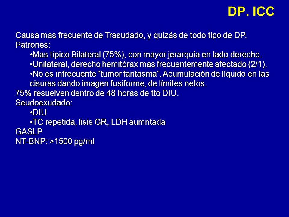 DP. ICC Causa mas frecuente de Trasudado, y quizás de todo tipo de DP.