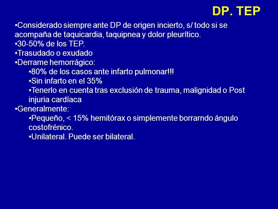 DP. TEP Considerado siempre ante DP de origen incierto, s/ todo si se acompaña de taquicardia, taquipnea y dolor pleurítico.