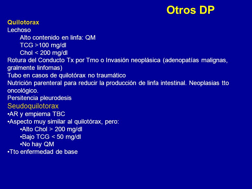 Otros DP Seudoquilotorax Quilotorax Lechoso