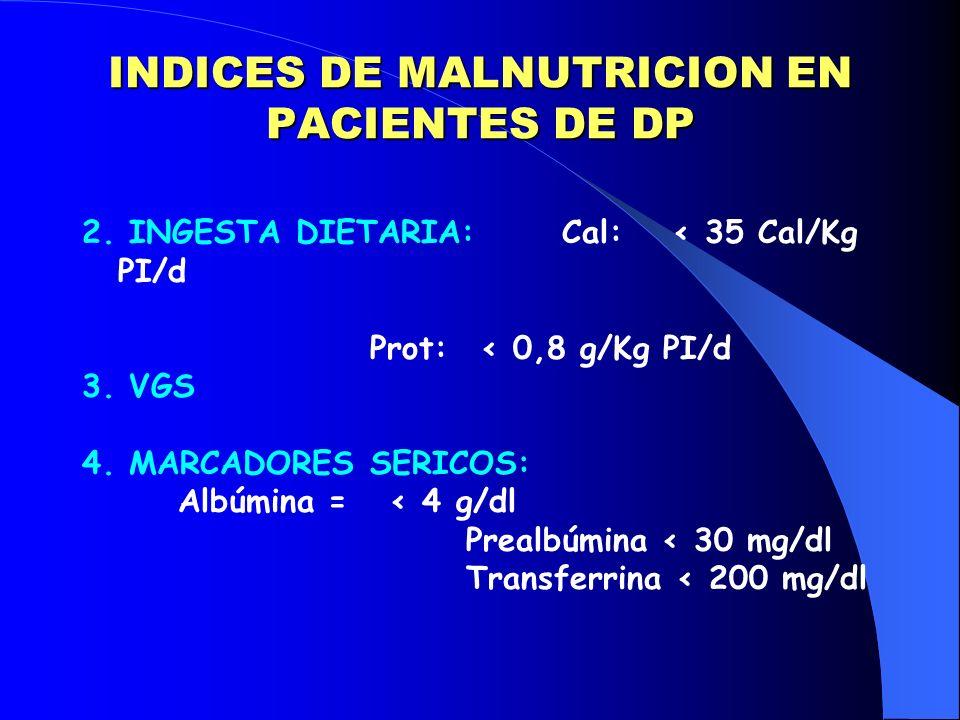 INDICES DE MALNUTRICION EN PACIENTES DE DP