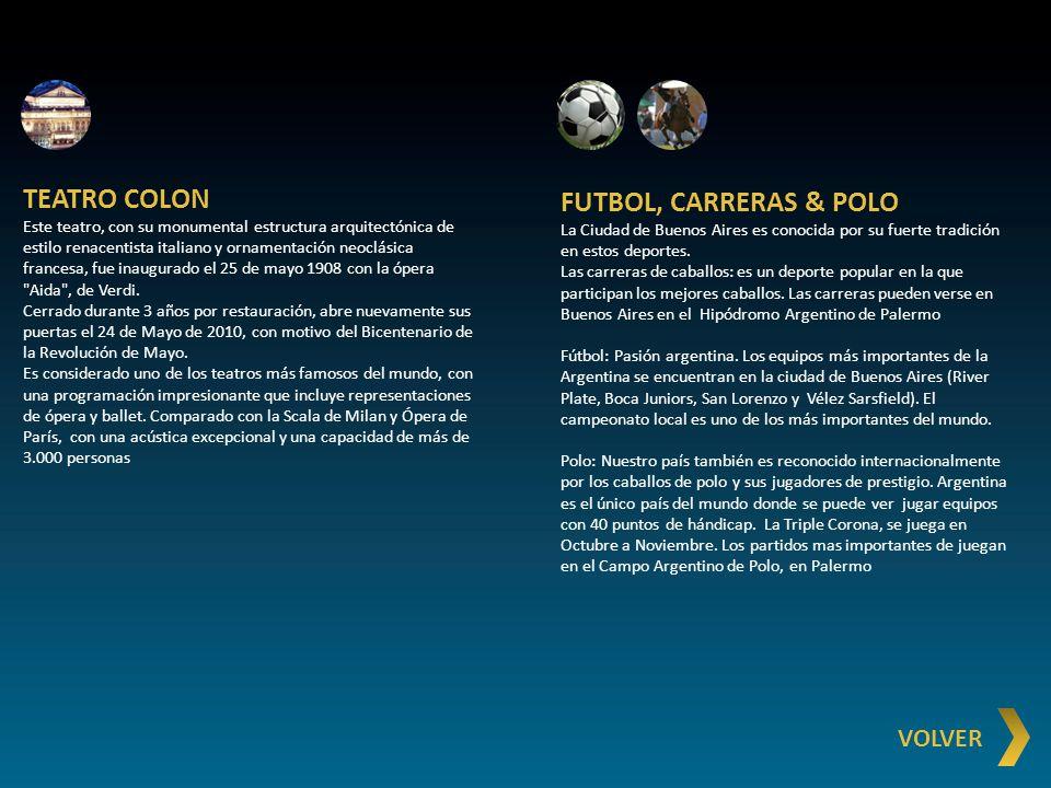 TEATRO COLON FUTBOL, CARRERAS & POLO VOLVER