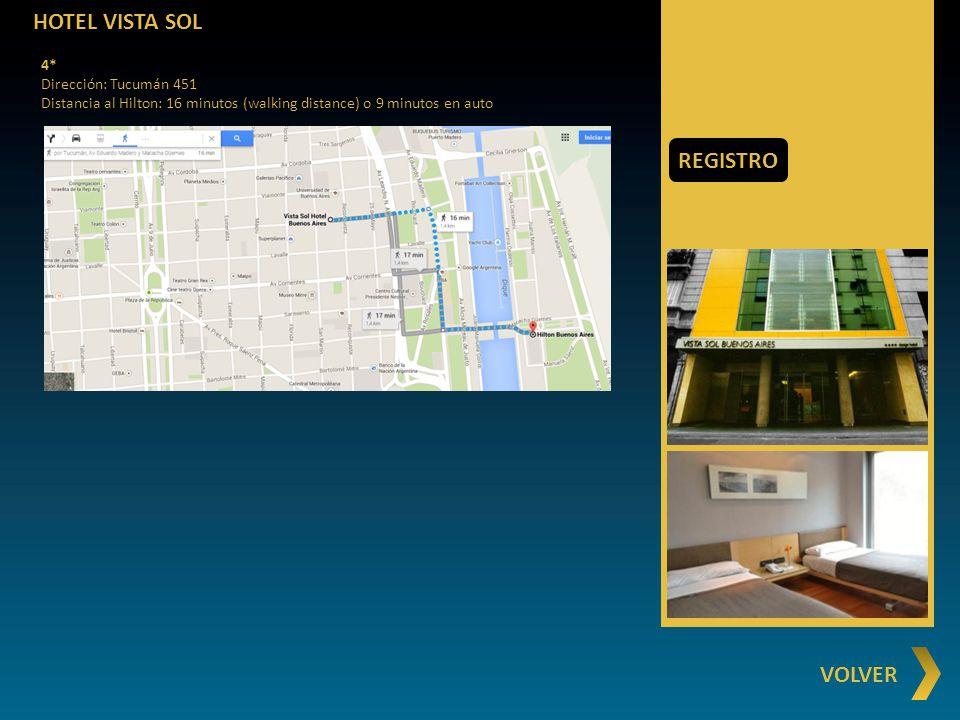 HOTEL VISTA SOL REGISTRO VOLVER 4* Dirección: Tucumán 451