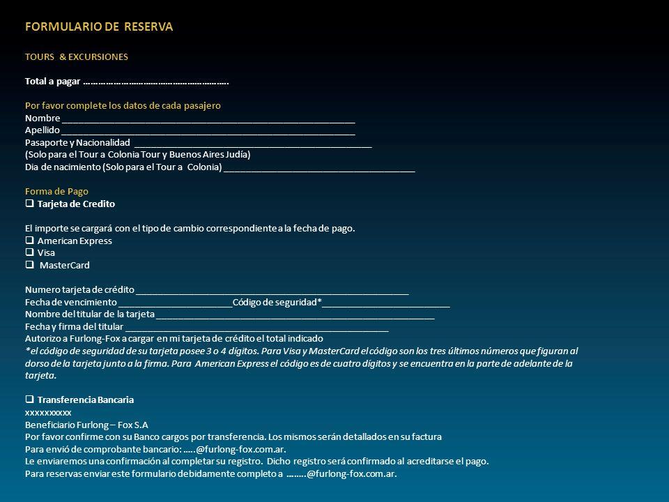 FORMULARIO DE RESERVA TOURS & EXCURSIONES