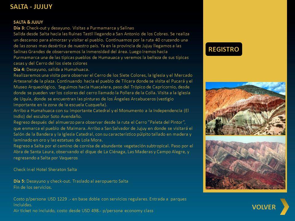SALTA - JUJUY REGISTRO VOLVER SALTA & JUJUY