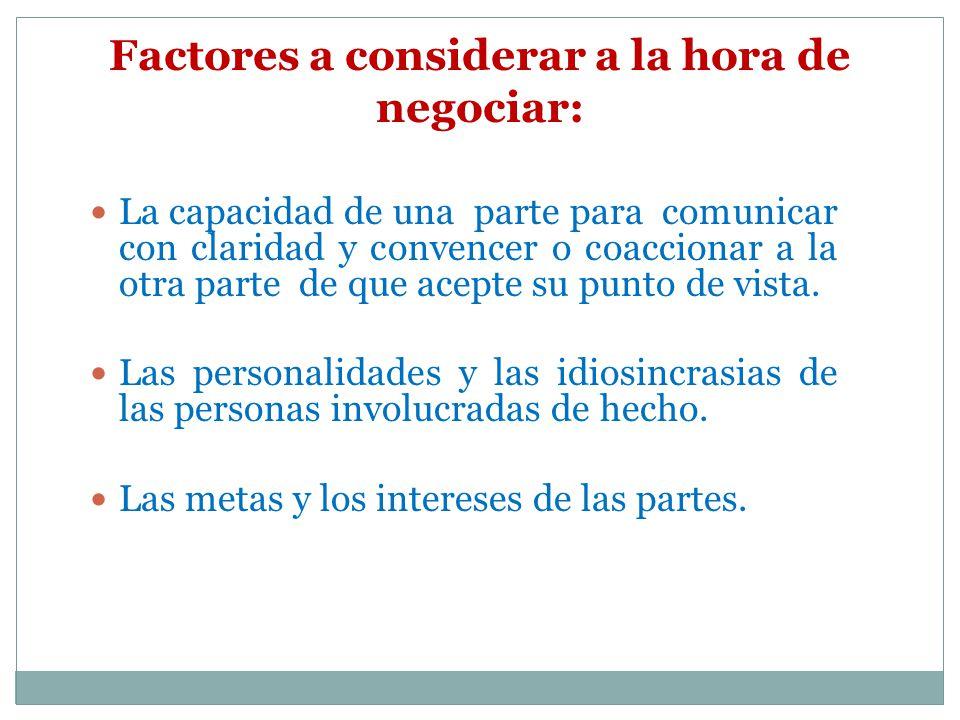 Factores a considerar a la hora de negociar: