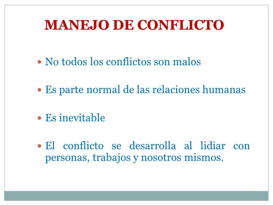MANEJO DE CONFLICTO No todos los conflictos son malos