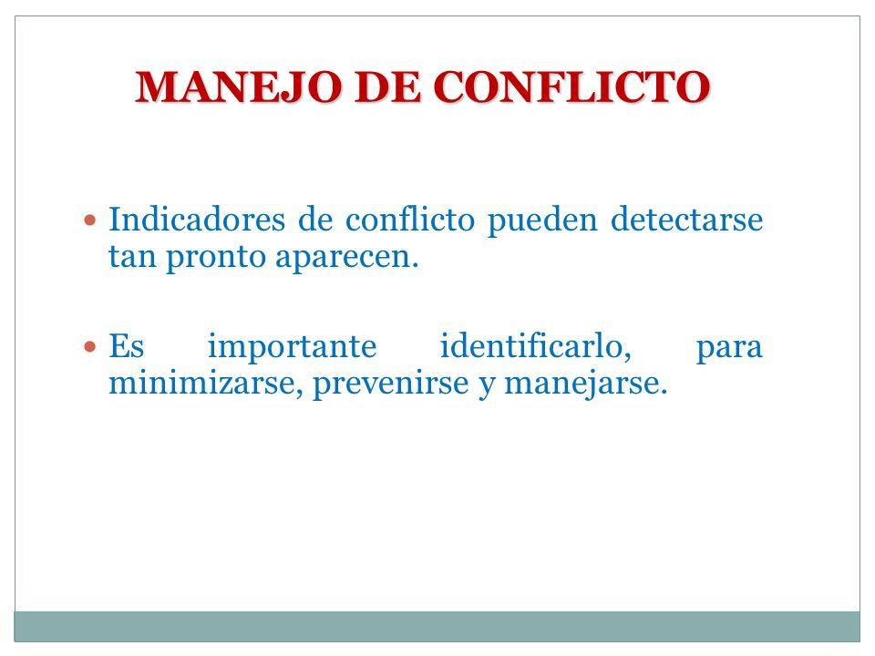 MANEJO DE CONFLICTO Indicadores de conflicto pueden detectarse tan pronto aparecen.