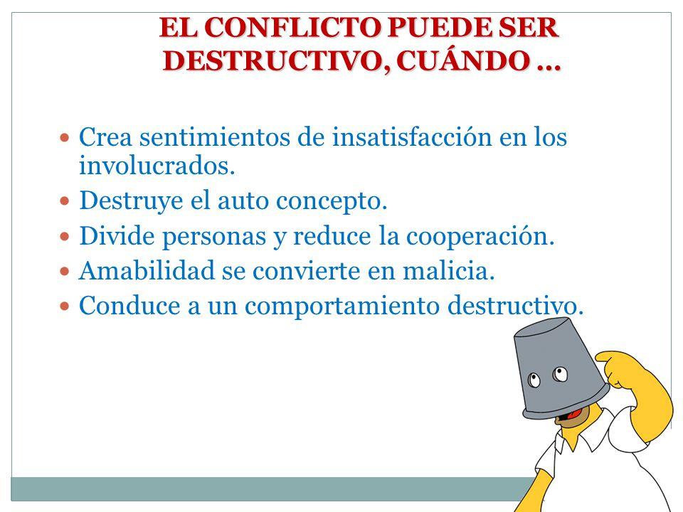 EL CONFLICTO PUEDE SER DESTRUCTIVO, CUÁNDO …