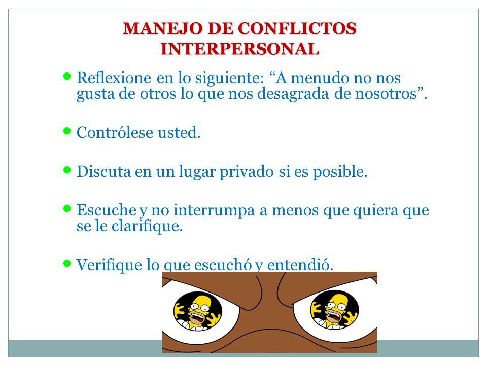 MANEJO DE CONFLICTOS INTERPERSONAL