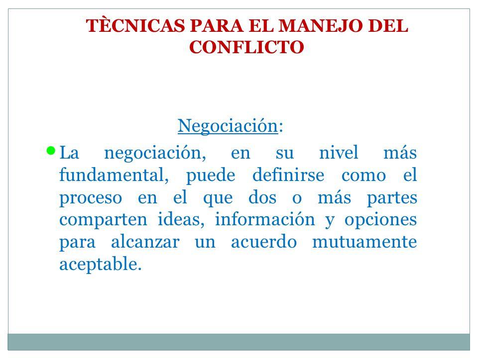 TÈCNICAS PARA EL MANEJO DEL CONFLICTO