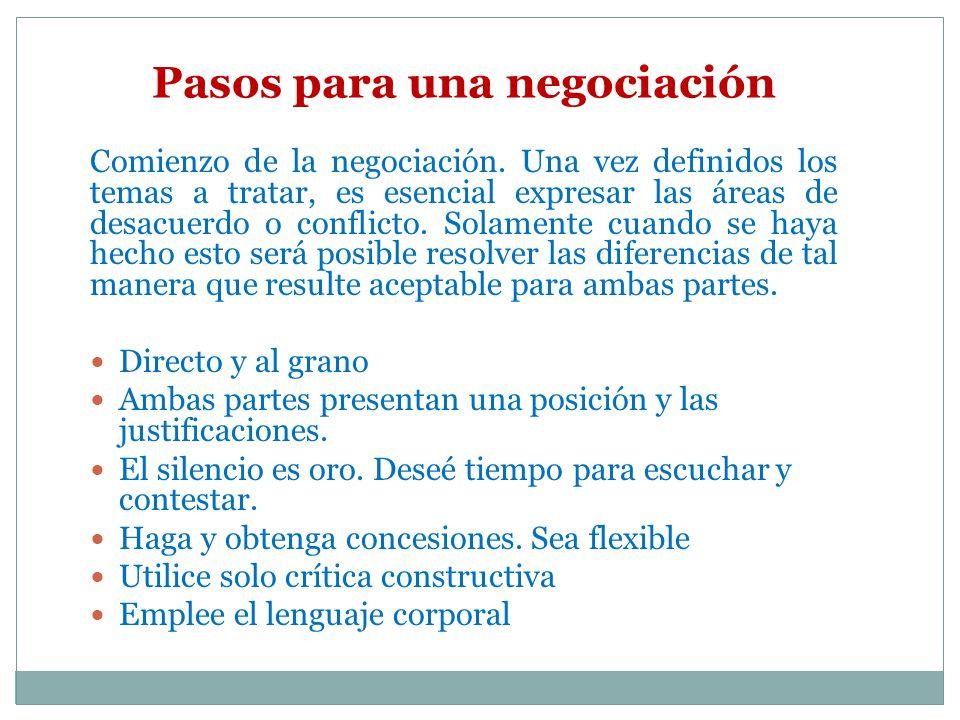 Pasos para una negociación