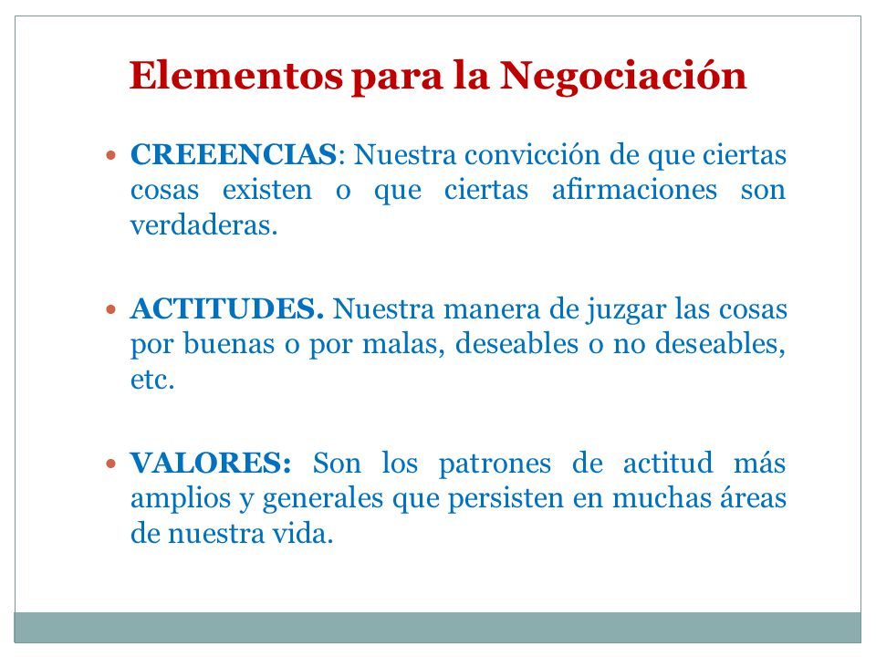 Elementos para la Negociación
