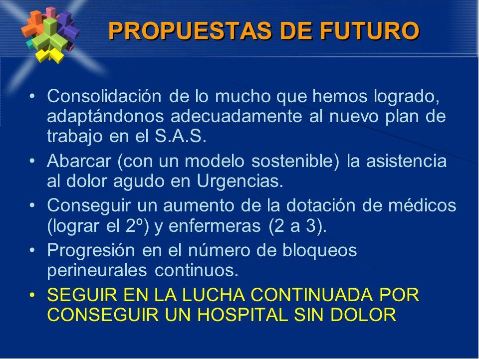 PROPUESTAS DE FUTUROConsolidación de lo mucho que hemos logrado, adaptándonos adecuadamente al nuevo plan de trabajo en el S.A.S.