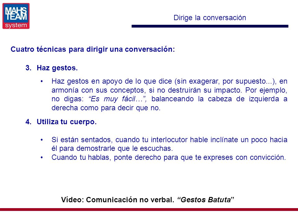 Vídeo: Comunicación no verbal. Gestos Batuta