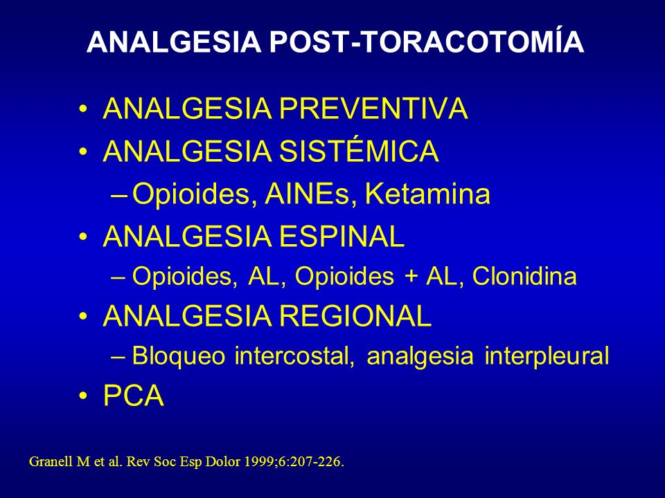 ANALGESIA POST-TORACOTOMÍA