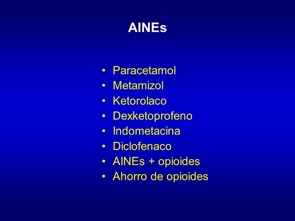 AINEs Paracetamol Metamizol Ketorolaco Dexketoprofeno Indometacina