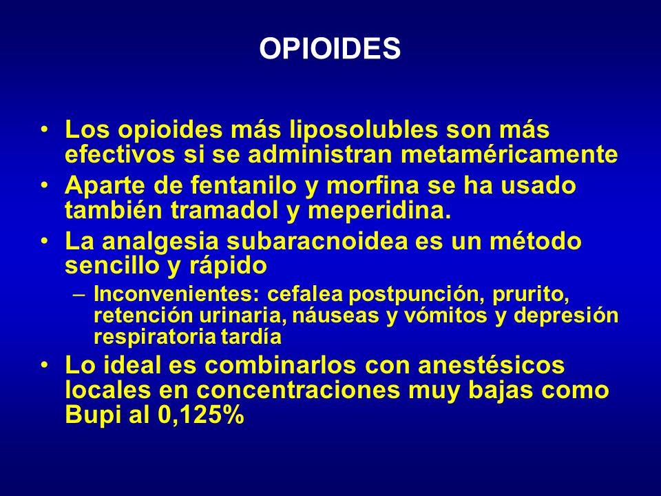 OPIOIDES Los opioides más liposolubles son más efectivos si se administran metaméricamente.