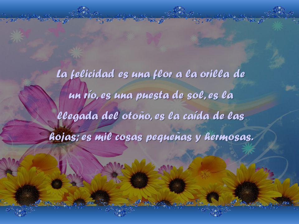 La felicidad es una flor a la orilla de un río, es una puesta de sol, es la llegada del otoño, es la caída de las hojas; es mil cosas pequeñas y hermosas.