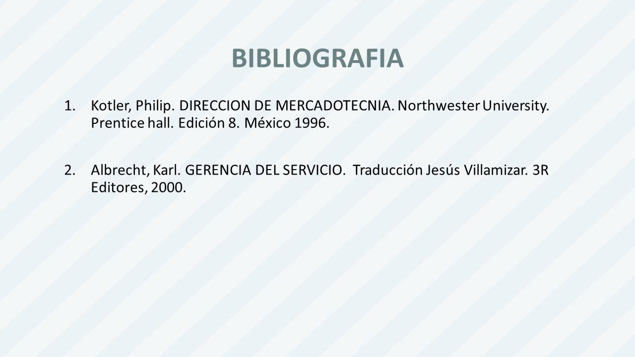 BIBLIOGRAFIA Kotler, Philip. DIRECCION DE MERCADOTECNIA. Northwester University. Prentice hall. Edición 8. México 1996.
