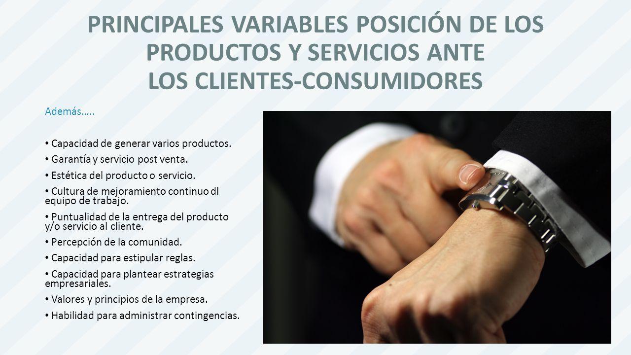 PRINCIPALES VARIABLES POSICIÓN DE LOS PRODUCTOS Y SERVICIOS ANTE LOS CLIENTES-CONSUMIDORES